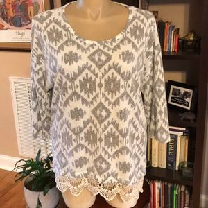 New Directions 2X Tunic With Lace Grey & White